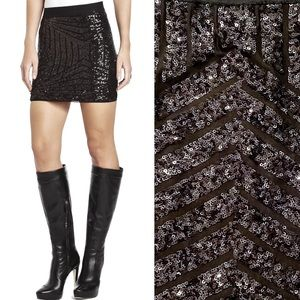 BCBG Paxton Deco Sequin-Applique Mini Skirt